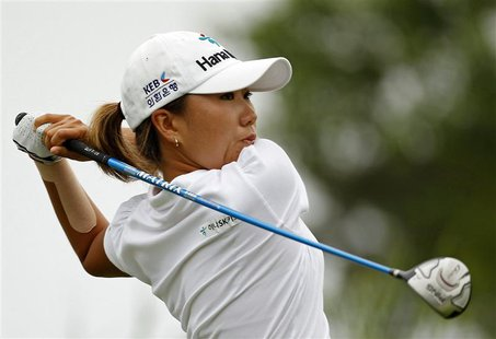 Kim In-kyung of South Korea tees off on the 16th hole during the second round of the 2013 U.S. Women's Open golf championship at the Sebonac