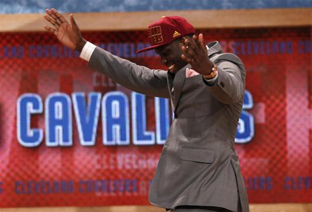 Anthony Bennett from the University of Nevada Las Vegas (UNLV) reacts after being selected by the Cleveland Cavaliers as the first overall p