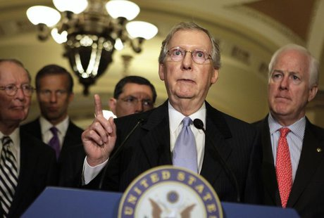 U.S. Senate Minority Leader Mitch McConnell (R-KY) (2nd R) speaks to the media on Capitol Hill in Washington June 18, 2013. REUTERS/Yuri Gri