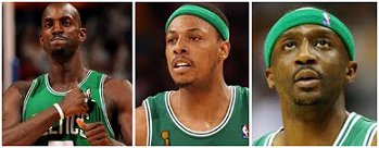 Kevin Garnett, Paul Pierce and Jason Terry