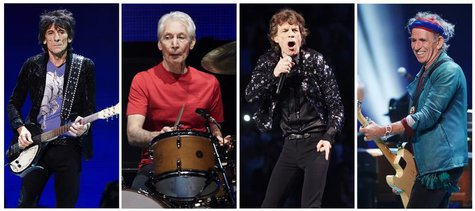 A combination photo shows Rolling Stones members (L-R): Ronnie Wood, Charlie Watts, Mick Jagger and Keith Richards performing at a concert d