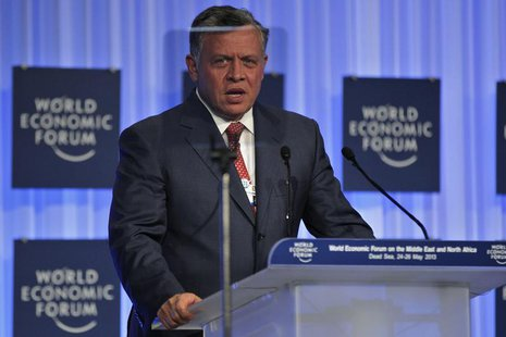 Jordan's King Abdullah speaks during the closing ceremony of the World Economic Forum on the Middle East and North Africa at the King Hussei