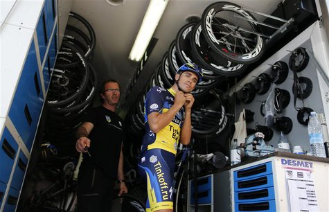 Team Saxo Bank rider Alberto Contador of Spain prepares for a training session in Porto-Vecchio, June 27, 2013 on the French Mediterranean i