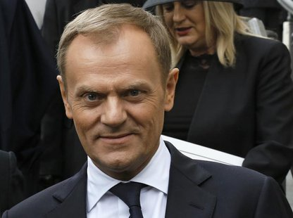 Poland's Prime Minister Donald Tusk leaves after attending the funeral service of former British prime minister Margaret Thatcher at St Paul
