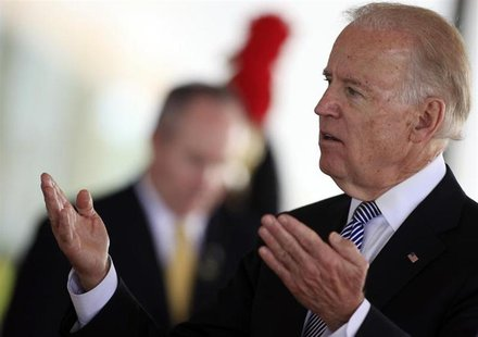 U.S. Vice President Joe Biden speaks after a meeting with Brazil's President Dilma Rousseff at the Planalto Palace in Brasilia May 31, 2013.