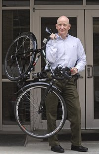 Patrick Lalley readies his bicycle for the, Tour Sioux Falls tomorrow and Sunday. (Courtesy Patrick Lalley