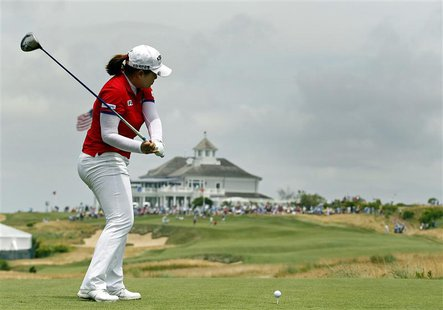Inbee Park of South Korea hits her 2nd tee shot during the third round of the 2013 U.S. Women's Open golf championship at the Sebonack Golf