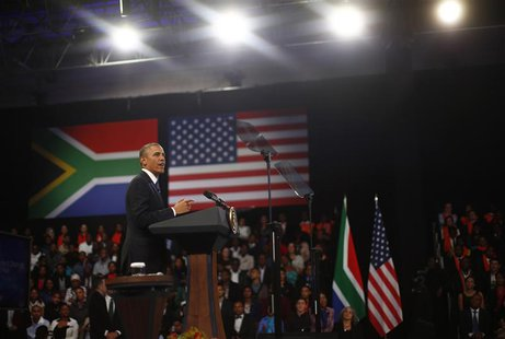 U.S. President Barack Obama participates in a town hall-style meeting with young African leaders at the University of Johannesburg Soweto, J
