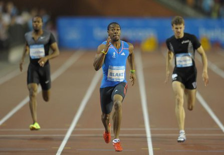 Yohan Blake (C) of Jamaica competes in the men's 200m event at the IAAF Diamond League athletics meeting, also known as Memorial Van Damme i