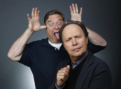 "Actors John Goodman (L) and Billy Crystal pose for a portrait while promoting the animated film ""Monsters University"" in Beverly Hills, Cali"