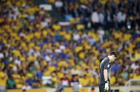 Spain's goalkeeper Iker Casillas reacts during their Confederations Cup final soccer match against Brazil at the Estadio Maracana in Rio de