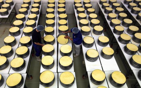 Employees work at a dairy plant in Litovel, one of the world's biggest producer of traditionally made parmesan cheese, June 27, 2012. REUTER