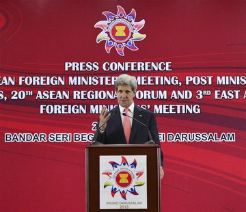 U.S. Secretary of State John Kerry speaks during a news conference at the 46th Association of Southeast Asian Nations (ASEAN) Foreign Minist