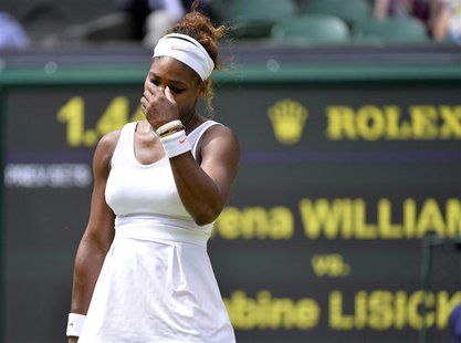 Serena Williams of the U.S. reacts during her women's singles tennis match against Sabine Lisicki of Germany at the Wimbledon Tennis Champio