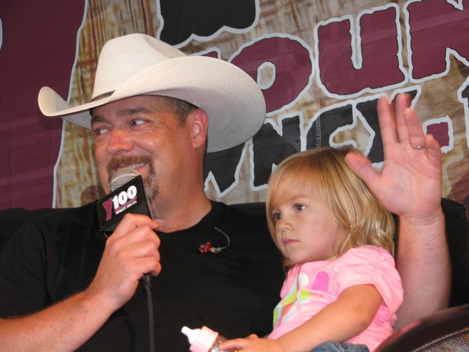 Chris Cagle was playing daddy-on-the-road this week and brought his daughter to the Y100 jumbotron interview