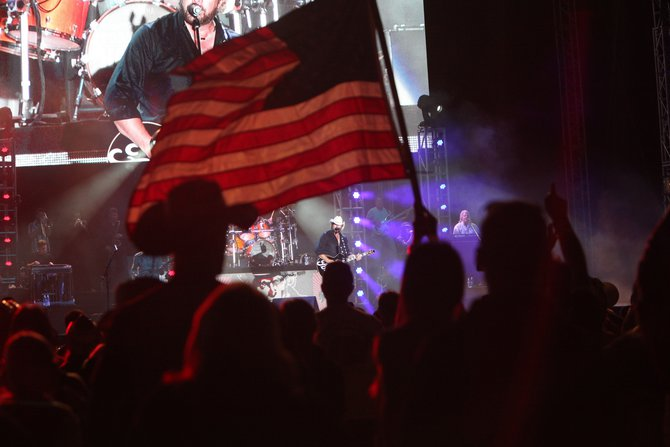 Amazing shot during Toby Keith's patriotic based set courtesy of our photographer, David Lang.