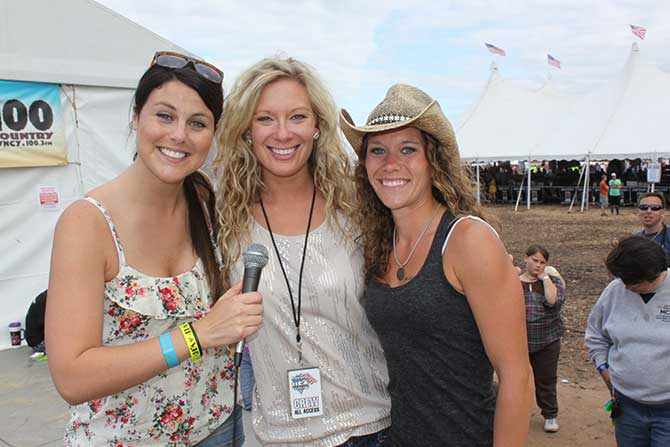Jess Kelley from B93 and Abby from Y100 with winner of Montgomery Gentry Meet and Greets