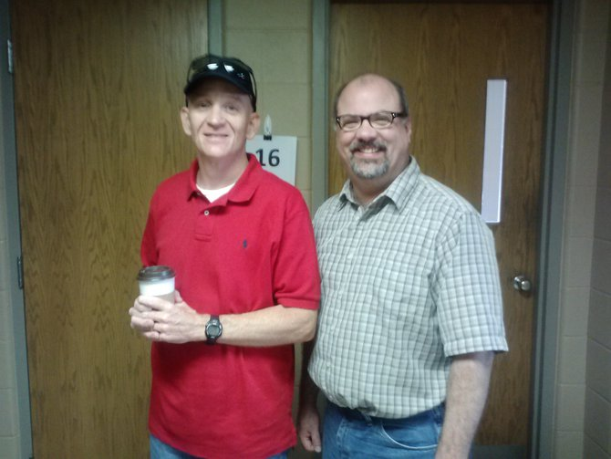 Patrick Lalley, the Managing Editor of the Newspaper Whose Name We Do Not Speak, and me.  Patrick stopped by to talk about Tour Sioux Falls and the animosity that many drivers display toward cyclists.  Patrick is on the left and I'm on the right.  What else is new?  6/28/13