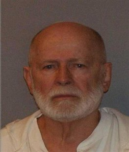 "Former mob boss and fugitive James ""Whitey"" Bulger, who was arrested in Santa Monica, California on June 22, 2011 along with his longtime gi"