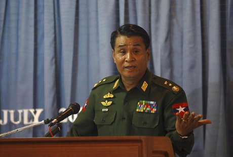 Lieutenant General Thein Htay addresses a news conference on the Rohingya-related unrest in Rakhine State, at the Ministry of Foreign Affair