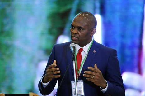 Tony Elumelu, chairman of the Transnational Corporation of Nigeria, speaks during the Presidential Power Reform Transactions signing ceremon