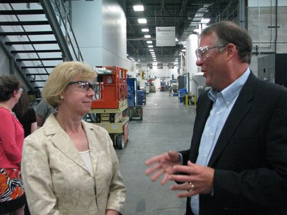 Senator Tammy Baldwin and Pointe Precision CEO Jim Kinsella during plant tour.