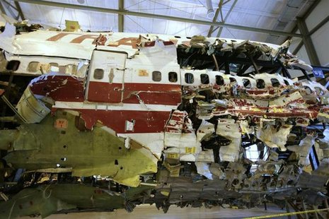 The remains of the TWA Flight 800 from New York to Paris that exploded off Long Island, New York, reassembled from recovered wreckage, is on