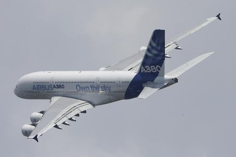 An Airbus A380 takes part in a flying display during the opening of the 50th Paris Air Show at Le Bourget airport near Paris June 17, 2013.