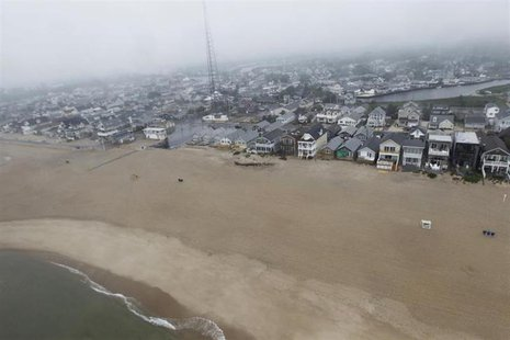 Homes line the Jersey Shore are seen from the air just south of Asbury Park, New Jersey, May 28, 2013. REUTERS/Jason Reed