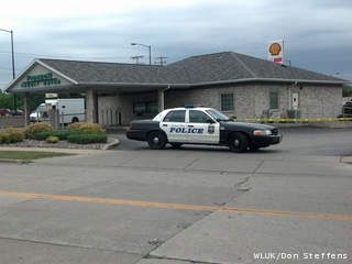 Green Bay police investigate a report of an armed robbery at Pioneer Credit Union, 1065 Velp Ave., July 3, 2013. (courtesy of FOX 11).