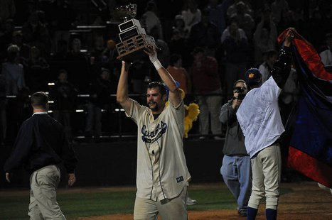 Beau Torbert celebrates the 2008 AA Championship.
