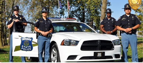 Indiana State Police Officers with marked Dodge Charger Patrol Car