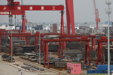 A view of the Rongsheng Heavy Industries shipyard is seen in Nantong, Jiangsu province, in this file photo taken May 21, 2012. REUTERS/Aly S