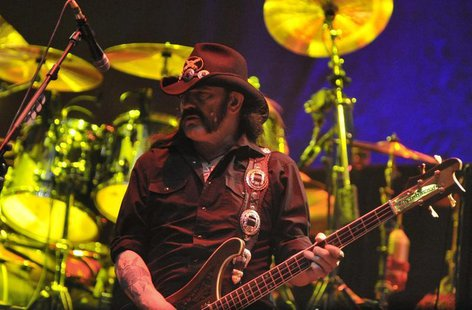 Lemmy Kilmister, bassist of Motorhead, performs during the annual heavy metal music open-air festival in the northern German village of Wack