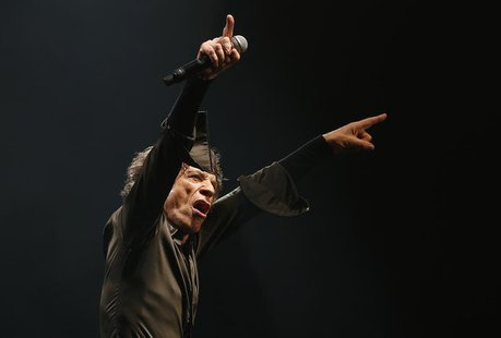 Lead singer of the Rolling Stones Mick Jagger performs on the Pyramid Stage at Glastonbury music festival at Worthy Farm in Somerset, June 2