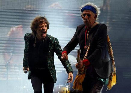 Mick Jagger (L) and Keith Richards of the Rolling Stones perform on the Pyramid Stage at Glastonbury music festival at Worthy Farm in Somers