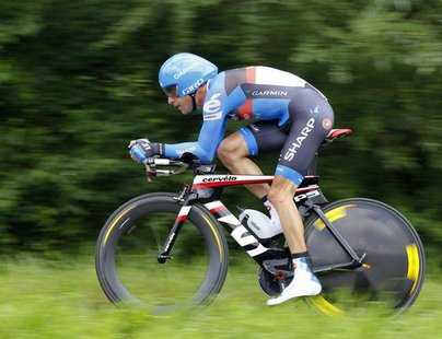 Garmin-Sharp rider Christian Vande Velde of the U.S. cycles during the individual time trial in the ninth stage of the 99th Tour de France c