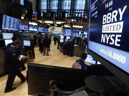 The trading symbol for Blackberry is seen on a screen on the floor at the New York Stock Exchange, April 1, 2013. REUTERS/Brendan McDermid