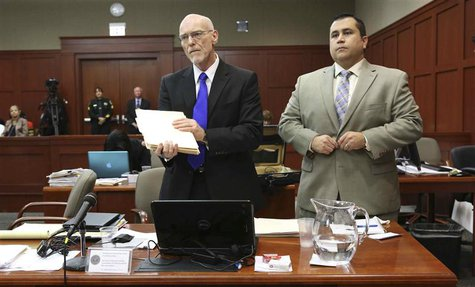 Defense attorney Don West (R) stands with George Zimmerman during his second-degree murder trial in Sanford, Florida, July 5, 2013. REUTERS/