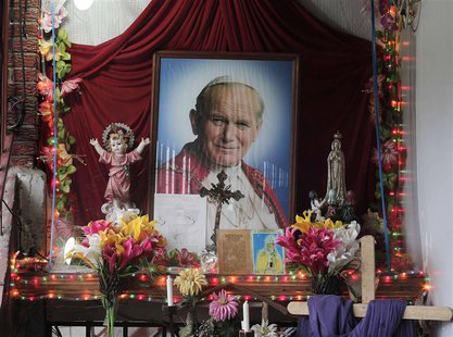 An altar of Pope John Paul II is pictured in the house of Floribeth Mora, the Costa Rican woman whose inexplicable curing of her medical con