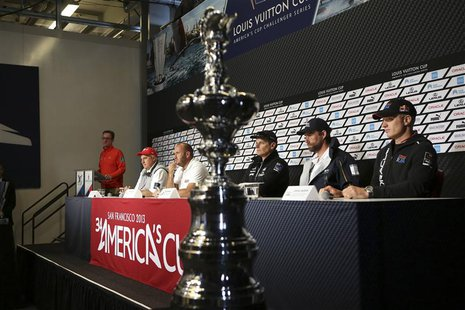 America's Cup regatta director Iain Murray (2nd L), Team Luna Rossa skipper Max Sirena (3rd L), Emirates Team New Zealand skipper Dean Barke