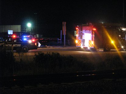 Emergency vehicles at Rothschild crash scene
