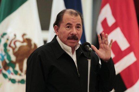 Nicaragua's President Daniel Ortega speaks during the presentation of credentials from Mexico's Ambassador to Nicaragua Juan Rodrigo Labardi