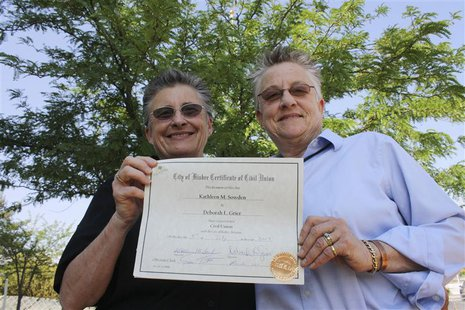 Kathy Sowden (L), 57, and partner Deborah Grier, 63, hold their Certificate of Civil Union in Bisbee, Arizona, July 5, 2013. REUTERS/Brad Po