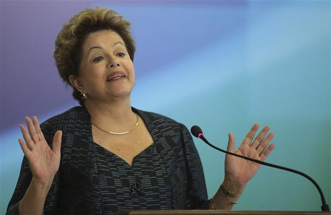 Brazil's President Dilma Rousseff speaks during an announcement of the construction of the first 50 port terminals for private use (TUP), at