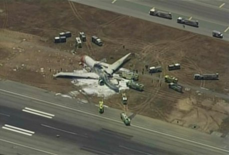 An Asiana Airlines Boeing 777 is pictured after it crashed while landing in this KTVU image at San Francisco International Airport in Califo