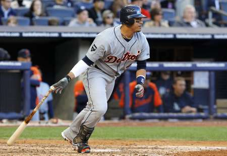 Victor Martinez getting a base hit. REUTERS