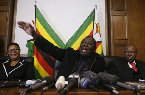 Zimbabwe Prime Minister and leader of the opposition Movement for Democratic Change (MDC) Morgan Tsvangirai gestures during a news conferenc