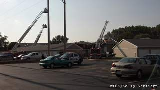 Fire crews respond to an apartment complex fire in Howard on July 6, 2013. (courtesy of FOX 11).