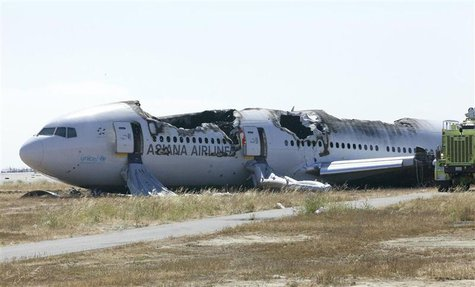 U.S. National Transportation Safety Board (NTSB) photo shows Asiana Airlines Flight 214 at San Francisco International Airport in San Franci